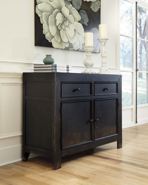 Gavelston Rubbed Black Wood Accent Cabinet T732-40