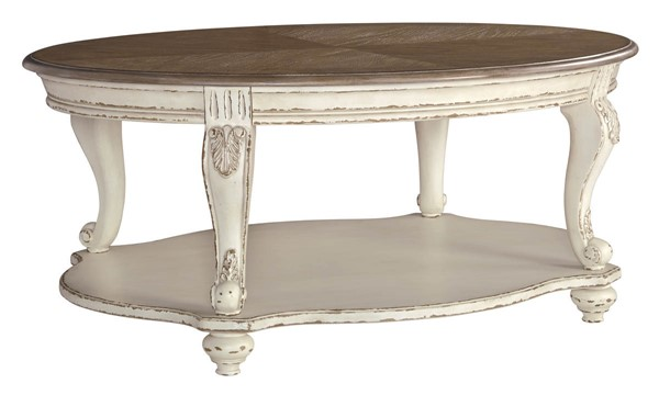 Ashley Furniture Realyn White Brown Oval Cocktail Table T743-0