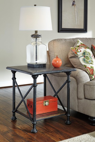 Tallenfield Vintage Casual Gray Brown Rectangular End Table T744-3