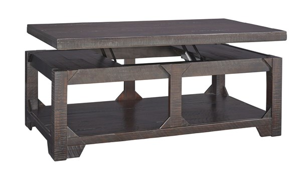 Rogness Vintage Casual Rustic Brown Wood Lift Top Cocktail Table T745-9
