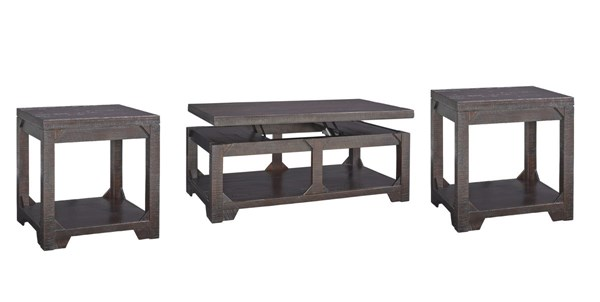 Rogness Vintage Casual Rustic Brown Wood 3pc Coffee Table Set T745-OCT-S1