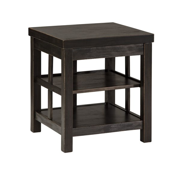 Gavelston Vintage Casual Rubbed Black Square End Table T752-2