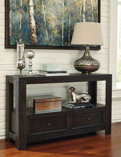 Gavelston Vintage Casual Rubbed Black Sofa Table T752-4