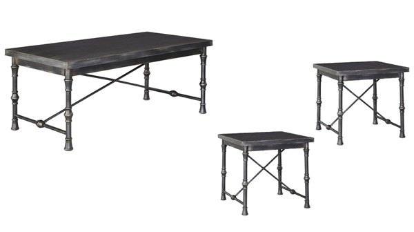Ballor Vintage Casual Pewter 3pc RECT-SQ Coffee Table Set T767-OCT-RECT-SQ-S1
