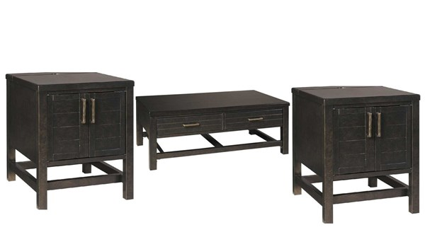 Jazzlyn Contemporary Brown Rectangular Coffee Table Sets JAZZLYN-OCT