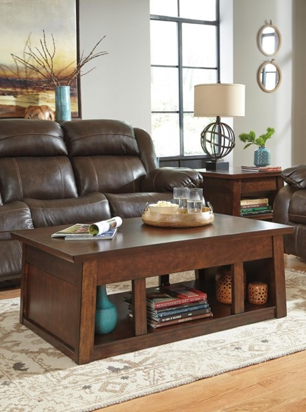 Harpan Vintage Casual Reddish Brown 3pc Coffee Table Set T797-OTS