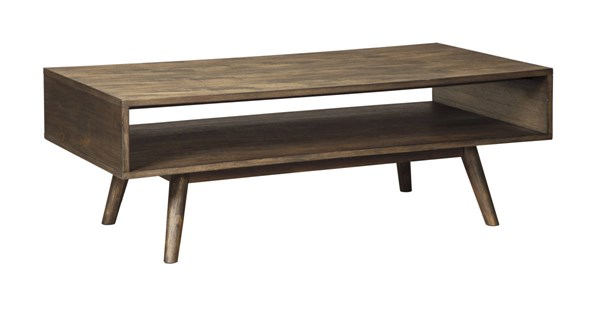 Kisper Contemporary Dark Brown Solid Wood Rectangular Cocktail Table T802-1