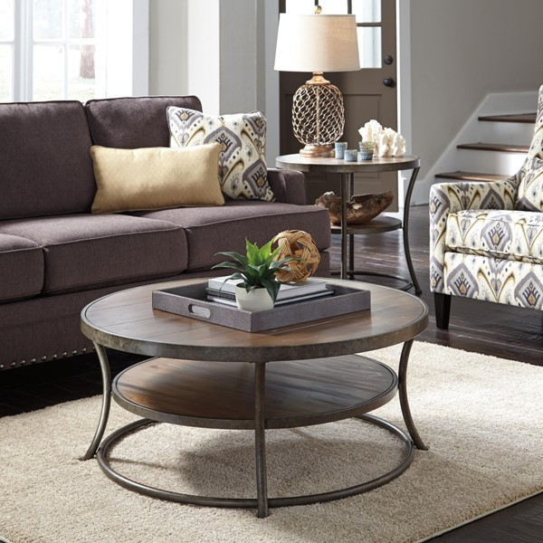 Nartina Vintage Casual Light Brown 3pc Coffee Table Set T805-OTS