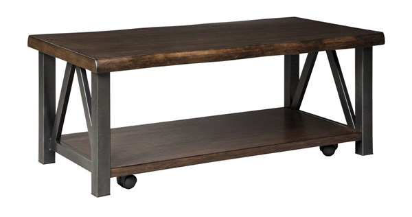 Esmarina Walnut Brown Solid Wood Metal Rectangular Cocktail Table T815-1