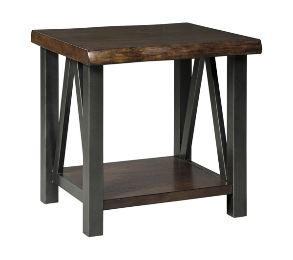 Esmarina Contemporary Walnut Brown Wood Metal Rectangular End Table T815-3