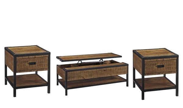 Kalean Two Tone Wood Metal 3pc Coffee Table Set W/Lift Top T81-OCT-S1