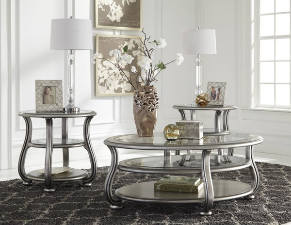 Coralayne Old World Silver Metal Glass Coffee Table Set CORALAYNE-OCT-BNDL