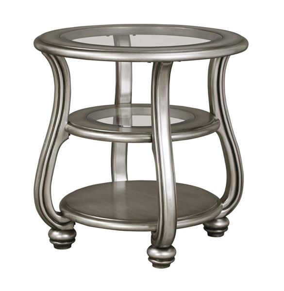 Coralayne Old World Silver Metal Glass Round End Table W/2 Shelves T820-6