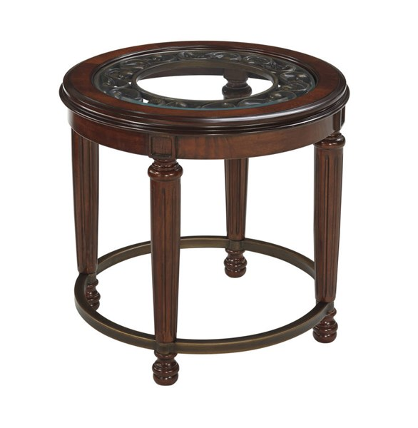 Leahlyn Old World Reddish Brown Wood Glass Round End Table T826-6
