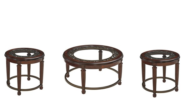 Leahlyn Old World Reddish Brown Wood Glass 3pc Coffee Table Set T826-OCT-S1