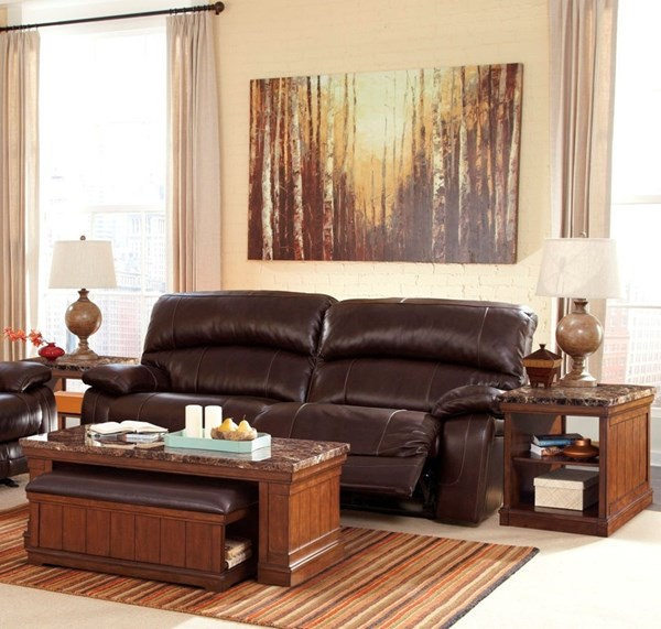 Merihill Cottage Brown Wood Marble Faux Leather Coffee Table Set T838
