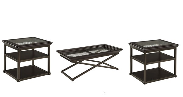 Florentown Dark Brown Wood Glass Metal 3pc Rectangle Coffee Table Set T840-OCT-RECT-S1