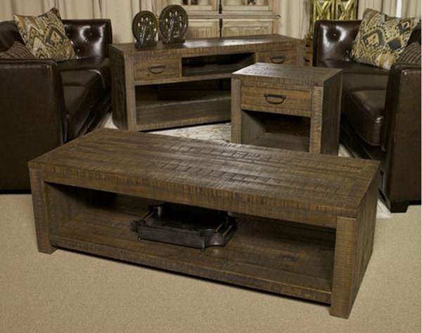 Larroni Vintage Casual Rustic Brown Coffee Table Set T853-BNDL