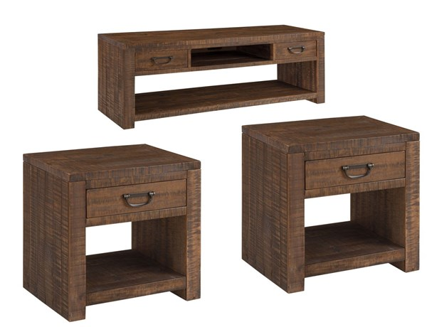 Larroni Vintage Casual Rustic Brown 3pc Rectangle Coffee Table Set T853-OCT-RECT-S1
