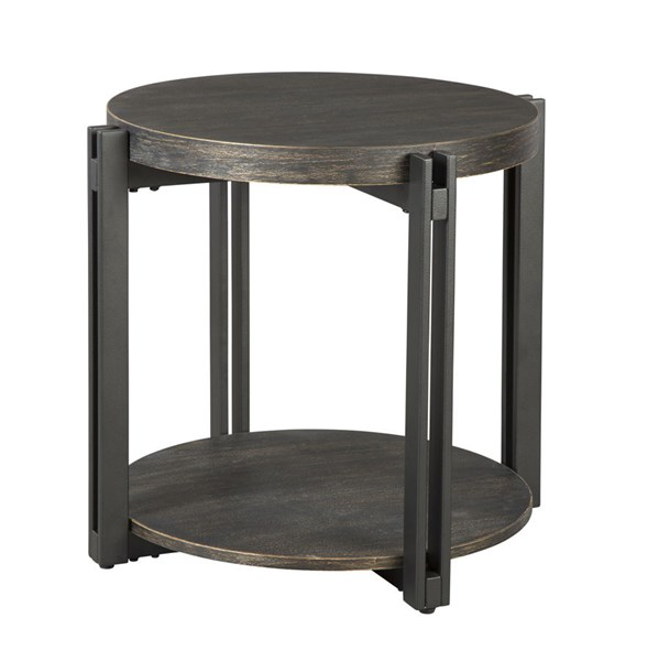 Winnieconi Contemporary Black Wood Metal Round End Table T857-6