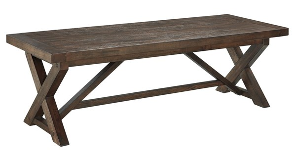Windville Traditional Dark Brown Solid Wood Rectangular Cocktail Table T862-1
