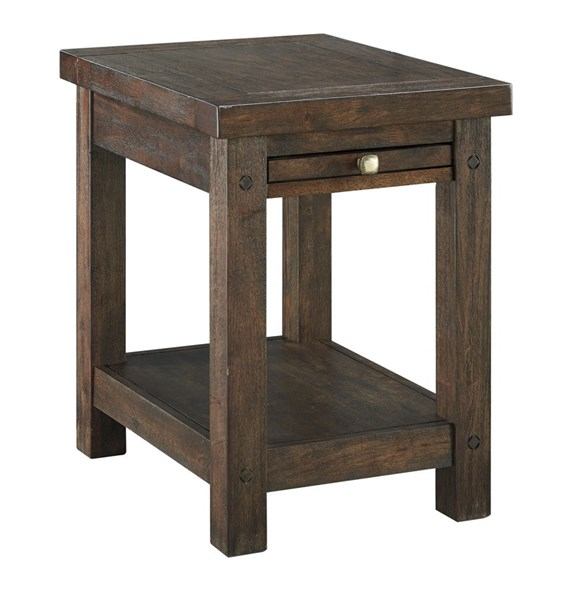 Windville Traditional Dark Brown Solid Wood Chair Side End Table T862-7