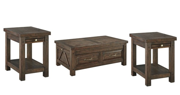 Windville Traditional Dark Brown Solid Wood Coffee Table Set WINDVILLE-OCT-BNDL