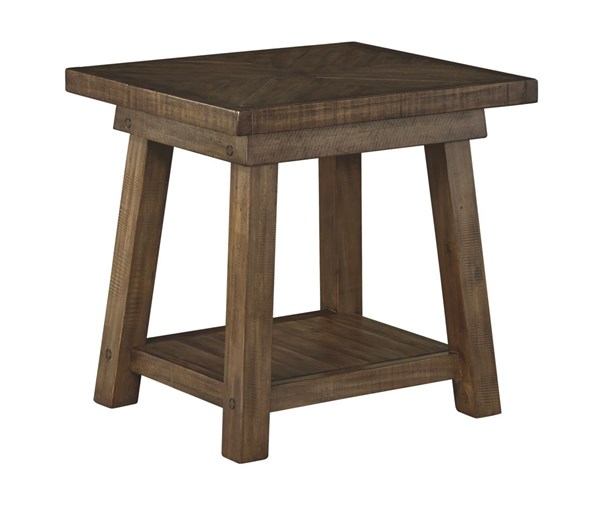 Dondie Casual Brown Wood Rectangular End Table T863-3