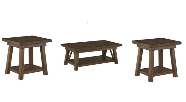 Dondie Casual Brown Wood 3pc Rectangle Coffee Table Set T863-OCT-RECT-S1