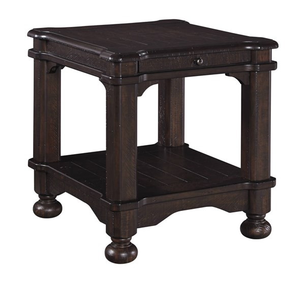 Gerlane Casual Dark Brown Solid Wood Rectangular End Table T867-3