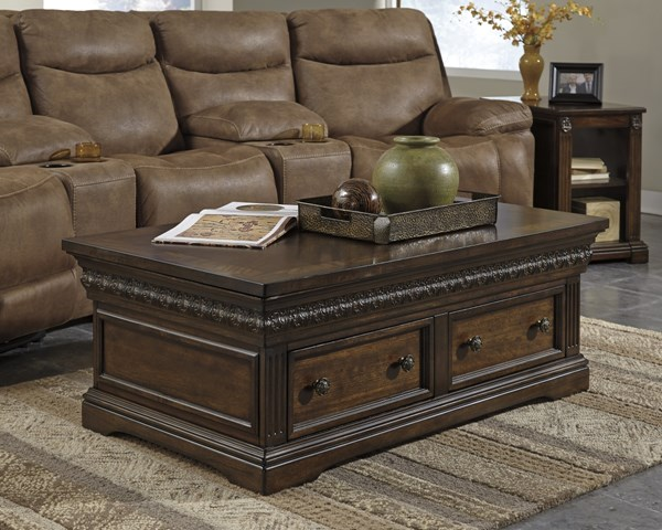 Lamonte Traditional Classics Brown Wood Coffee Table Set LAMONTE-OCT-BNDL