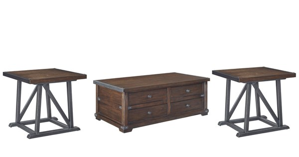 Zenfield Vintage Casual Medium Brown Wood Metal Coffee Table Set The Classy Home
