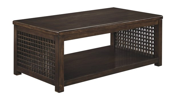 Roxenton Casual Brown Solid Wood Rectangular Cocktail Table T885-1