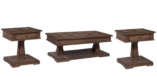 Zalarah Vintage Casual Rustic Brown Wood Coffee Table Set Occasional Tables The Classy Home
