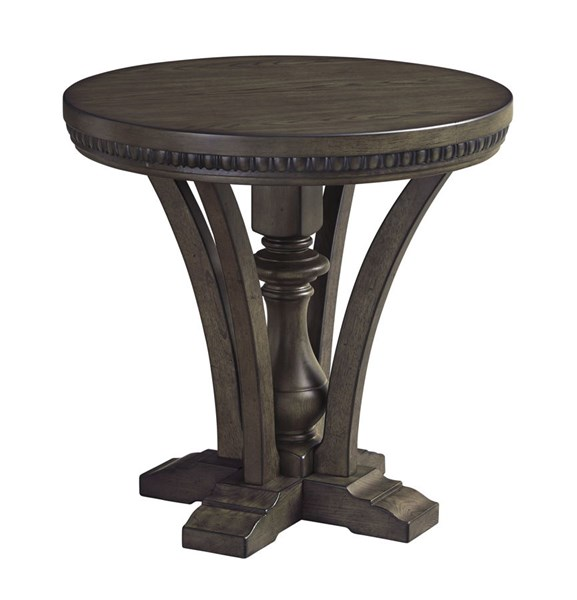 Larrenton Traditional Classics Grayish Brown Wood Round End Table T890-6