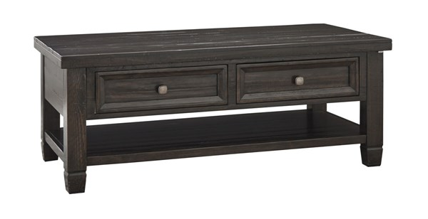 Townser Traditional Grayish Brown Wood Rectangular Cocktail Table T895-1