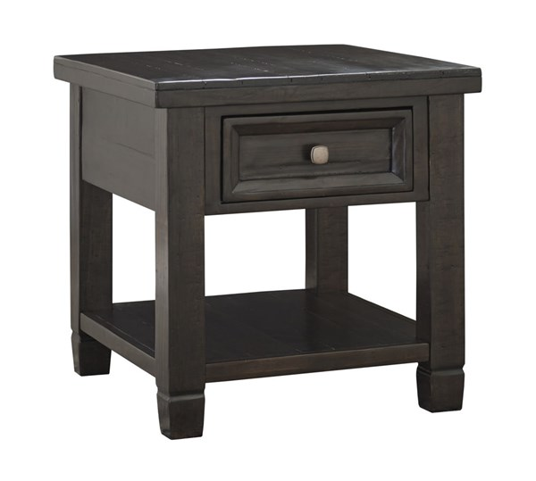 Townser Traditional Grayish Brown Wood Rectangular End Table T895-3