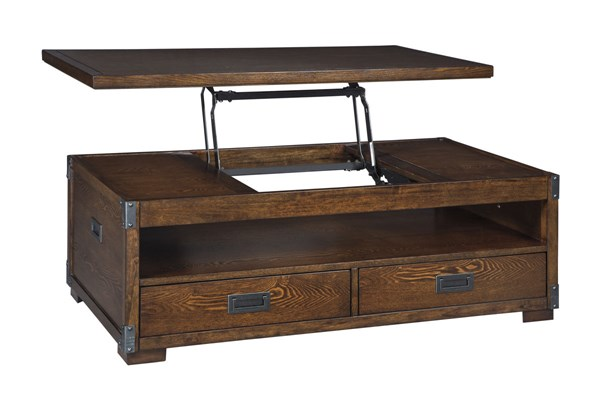 Jakeley Contemporary Medium Brown Wood Lift Top Cocktail Table T899-9