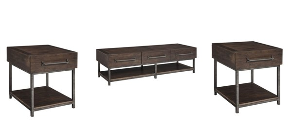 Starmore Contemporary Brown Solid Wood Metal 3pc Coffee Table Set T913-OCT-S1