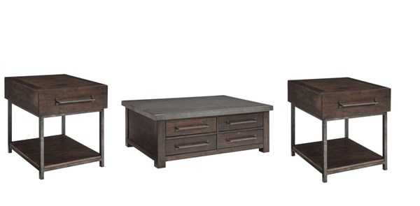 Starmore Contemporary Brown Wood Metal 3pc Coffee Table Set W/Storage T913-OCT-S2