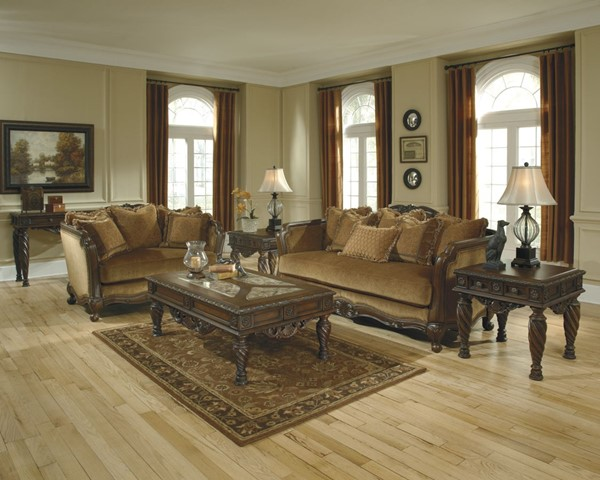 North Shore Traditional Dark Brown Wood Coffee Table Set T963