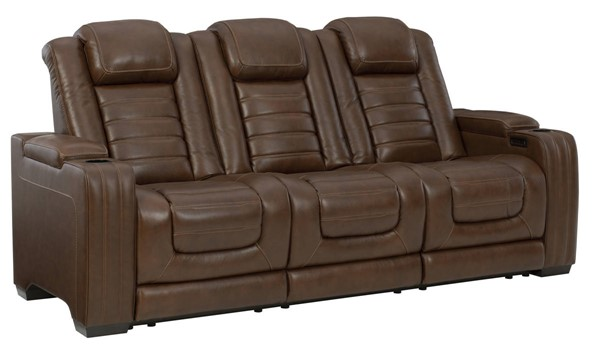 Ashley Furniture Backtrack Chocolate Power Recliner Sofa With Adjustable Headrest U2800415