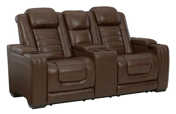 Ashley Furniture Backtrack Chocolate Power Recliner Loveseat With Console And Headrest U2800418