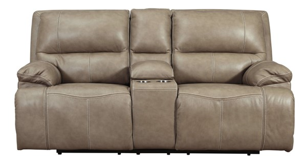 Ashley Furniture Ricmen Putty Power Recliner Loveseat With Adjustable Headrest U4370218