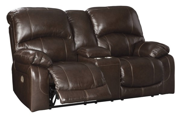 Ashley Furniture Hallstrung Chocolate Power Recliner Loveseat With Console And Adjustable Headrest U5240218