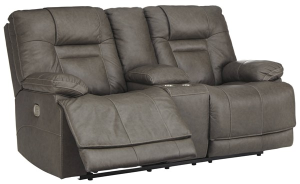 Ashley Furniture Wurstrow Smoke Power Reclining Loveseat With Console And Adjustable Headrest U5460218