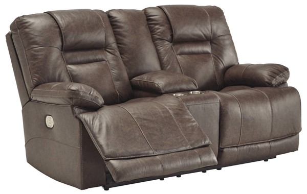 Ashley Furniture Wurstrow Umber Power Reclining Loveseat With Console And Adjustable Headrest U5460318