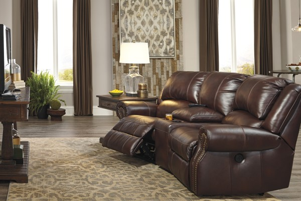 Collinsville Contemporary Chestnut Power Loveseat W/Storage Console U72100-LR2