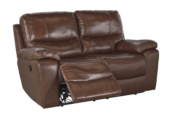 Penache Contemporary Saddle Leather Reclining Loveseat U7290086