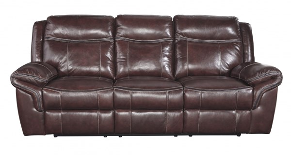 Zephen Contemporary Mahogany Pillow Top Arms Reclining Sofa U7440088